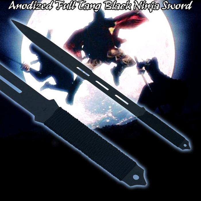 Full Tang Black Ninja Sword Machete with Nylon Sheath